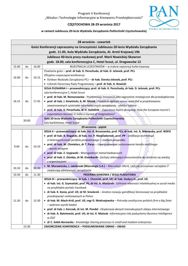 Program konferencji WIEDZA I TECHNOLOGIE 20171