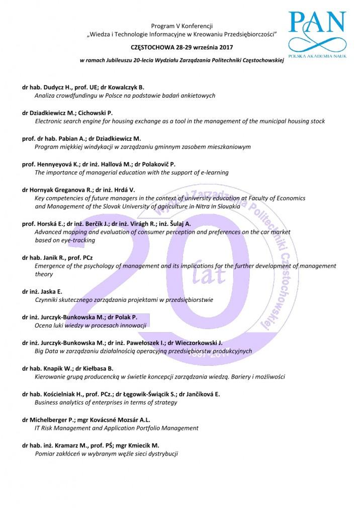 Program konferencji WIEDZA I TECHNOLOGIE 20173