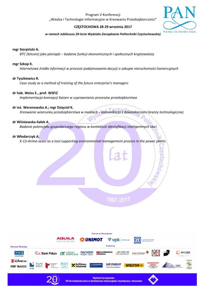 Program konferencji WIEDZA I TECHNOLOGIE 20175